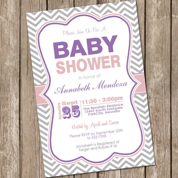 Girl Baby Shower Invitation Purple And Grey Chevron Printable