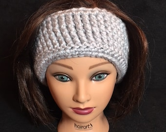 Gray Crochet Ear Warmer, Ear Warmer, Head Wrap
