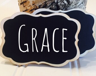 50 Chalkboard Name Tags,  Magnetic or Pins Reusable Name Tags--Perfect for Weddings, Office Parties, Meeting, and Corporate E