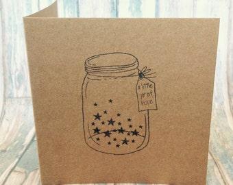 Little jar of hope hand stamped card
