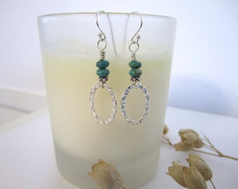Silver Oval Hoop - Drop Earrings - Hammered with Turquoise Rondelle Beads
