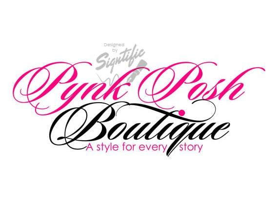 Custom boutique logo, pink and black logo design, small business text logo, logo for business card, website logo, italic cursive logo design