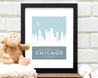 Skyline Print, Babies First, New Baby Gift, Personalized City Skyline, Baby Nursery Art, Chicago Poster, Newborn Baby Name, Urban