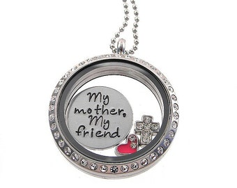 My Mother My Friend / Floating Locket / Mom Daughter Necklace / Personalized Jewelry