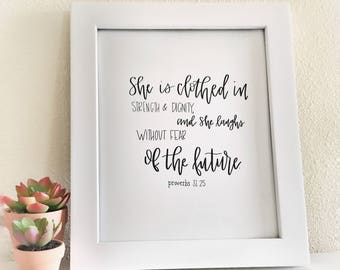 Proverbs 31, She is Clothed in Strength and Dignity, Bible Verse, Art Print, Digital Download, Painting, Wall Art, Wall Decor, Home Decor