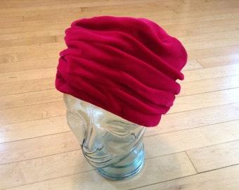 1950s Hat / Red Velvet Pleated Hat Sz Med / Red Velvet Vintage Hat / Velvet Turban Hat