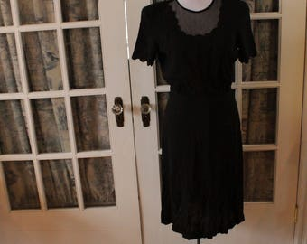 1940's Black Dress with Sheer Panels