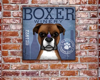 Boxer Wine company advertising style artwork on gallery wrapped canvasy by stephen fowler