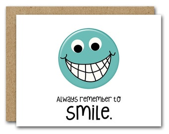 Printable Friend Card, Friendship Card, INSTANT DOWNLOAD, Inspirational Card, Thinking Of You Card, Support Card, Smiley Face, Happy Face