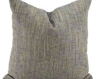 Navy, Tan, & Off White Woven Herringbone Throw Pillow Cover