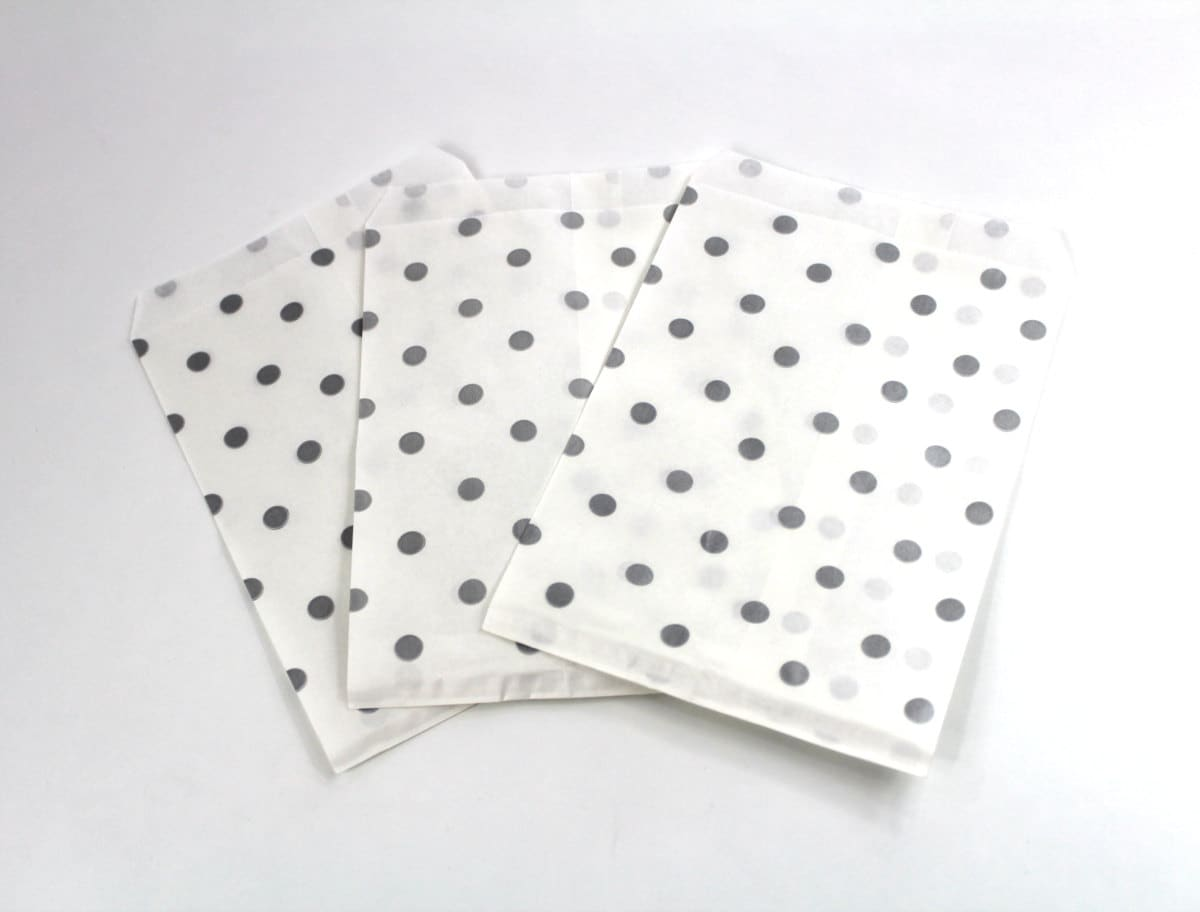 50 5x7 Silver Polka Dot Paper Gift bags, Merchandise Bags, Gift Bags ...