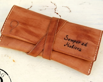 Personalized custom Initials - Hand made leather Tobacco Pouch - Sand Crazy Horse Leather