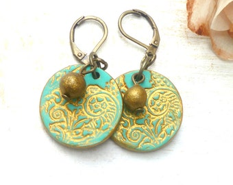 Turquoise and Gold Round Earrings