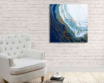 """24x24"""" // """"distant waves and wine"""" // original fine art painting by Brittany Kirby"""