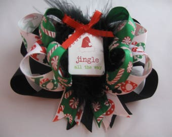 Christmas Ho Ho Santa Hat Black Red Geen Over-The-Top Hair Bow Hairbow