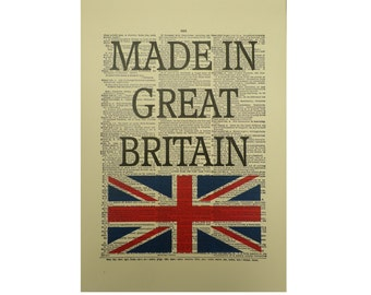 Vintage Inspired ' Made In Great Britain ' Dictionary Page Art Print P020