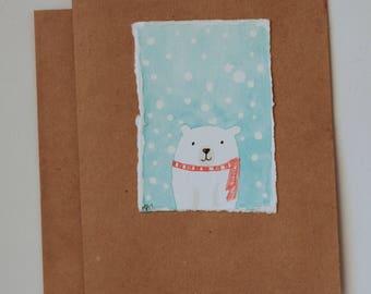 Hand Painted Watercolor Polar Bear Greeting Card on Kraft Paper