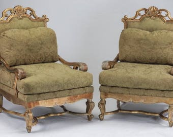 Pair gilt wood fauteuils chairs with silk damask upholstery
