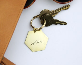 Mountain Range Brass Keychain | Wander Key Ring | Outdoor | Nature Lover Gift | Camping | Gold Key Ring | Get Outdoors | Adventure Gift