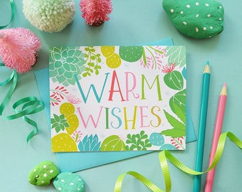 Warm Wishes Greeting Card, Colorful Christmas cactus, Seasonal Folded Note Card, succulents, Stationery, Hand Drawn, Happy Holidays
