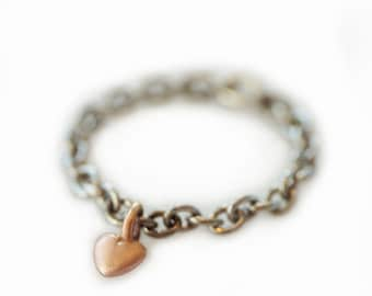 Mini Puffy Heart Charm Ring in 10k Gold and Stainless Steel Chain