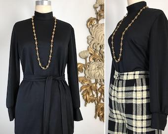 1960s tunic vintage turtleneck black tunic vintage tunic size large pykettes top tunic top 38 bust belt blouse turtleneck blouse 1970s tunic