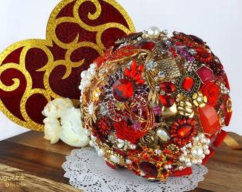 Wedding Brooch Bouquet, Broach Bouquet, Brooch Bouquet, Red Gold Bouquet, Summer Red Bouquet, Bridal Bouquet, Button Bouquet, DEPOSIT ONLY