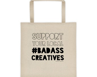Badass Creatives Cool tote bag. Awesome gift idea. Artist gifts. Canvas tote bag. Creative gift for her. Beach tote. Gifts for artists!