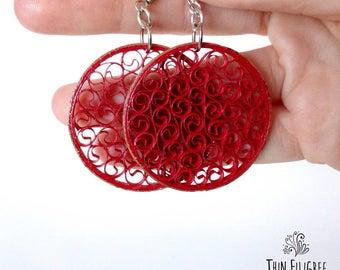 Red Earrings ~ Paper Earrings ~ Red Jewerly ~ Quilling Earrings ~ Quilling ~ Eco Earrings ~red