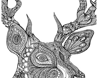 DEER - Instant Download - ADULT Coloring Pages - Digital Printable Design - Coloring Page Printable - Deer Printable
