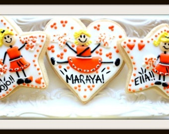 Custom Decorated Cheerleader Sugar Cookies