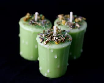 The Green Man Votive Spell Candle Sweet Grass Scented. Great for Faerie / Fairy, Earth, & Forest magick. Pagan, Wiccan, Altar, Goth.
