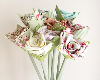 Faux Flowers - Bunch of 11 Fabric Flowers