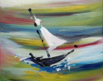 Small Oil Painting On Canvas By SYCL - Sailing Boat -Original