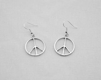 Peace Sign Earrings / Silver Jewelry / Silver Earrings / Drop Earrings