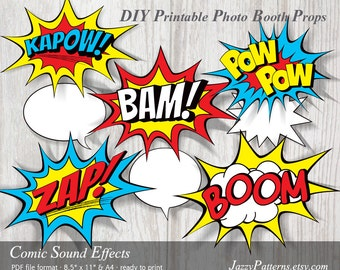 DIY Comic Book Sound Effects printable photo booth props, superhero birthday decoration party printable, PP003 instant download