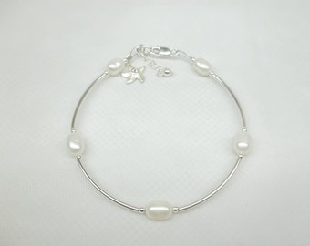 White Pearl Bracelet Silver Starfish Bracelet Beach Jewelry Beach Wedding Jewelry Adjustable Bracelet Sterling Silver Bracelet BuyAny3+1Free