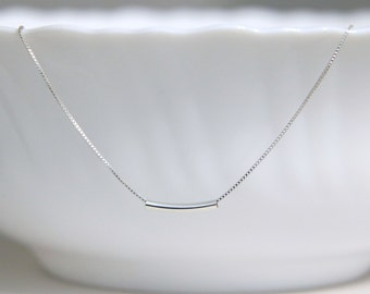 Sterling Silver Tube Necklace, Choker Necklace, Gift for Girlfriend, Best Friend Gift, Christmas Gift, Layering Necklace, Gift for Her
