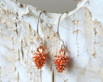 Rose Gold Pine Cone Earrings - Pinecone Charms