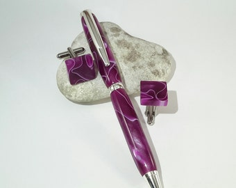 Acrylic  pen and cufflink set
