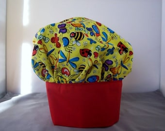 Chef Hat childs  Bright yellow with bugs and butterflies Adjustable