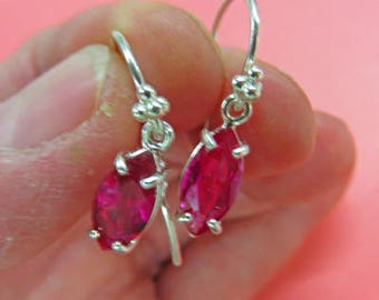 Ruby Earrings - Marquise Ruby Dangle Earrings - Lab-Grown Ruby and Argentium/Sterling Silver Dangling Earrings