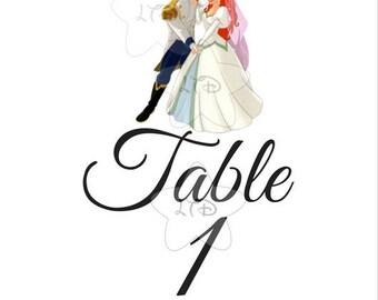 Disney Princesses Wedding Table Numbers Sets Of 10