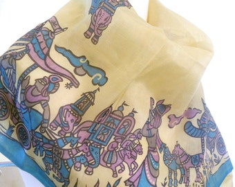 Ivory Silk Scarf, Silk Sari Scarf, Blue, Purple, Tribal Scarf, Indian Scarf