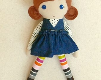 Fabric Doll Rag Doll 20 Inch Red Haired Girl in Blue Denim Dress with Polka Dotted Blouse, Striped Leggings, and Boots