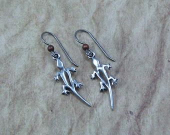 Silver Lizard Earrings on Hypoallergenic Ear Wires, Gecko Charms, Southwestern Earrings, Gift for Her