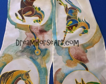"""Horses on Silk scarf, gold outline Abstract horses, hand painted and created by artist M Theresa Brown. Custom colors available 8"""" x 54"""" USA"""