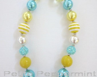 Toddler Chunky Necklace,Baby Chunky Necklace,Children Necklace,Girl Chunky Necklace,Girl Turquoise Yellow Necklace,Girl Bead Necklace