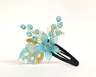 Flower Girl Headpiece Blue Hair Pin Flower Girl Hair Clip Flower Girl Hair Accessories Blue Hair Clip Flower Girl Hair Piece Blue Head Piece