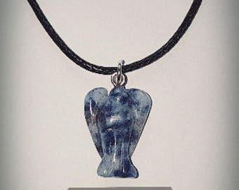 Childrens Crystal Pendant  Sodalite Necklace  Guardian  Angel Crystal Choices Available With Free Handmade Chain And Gift Bag